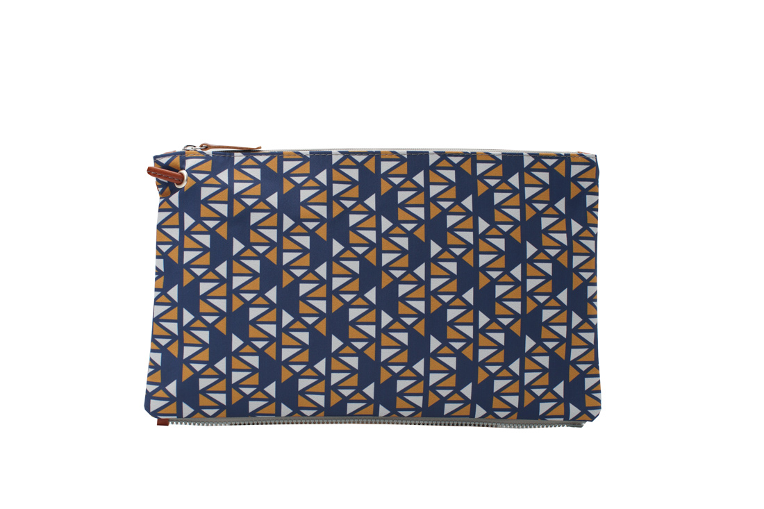 pomegranate blue yellow top clutch 1