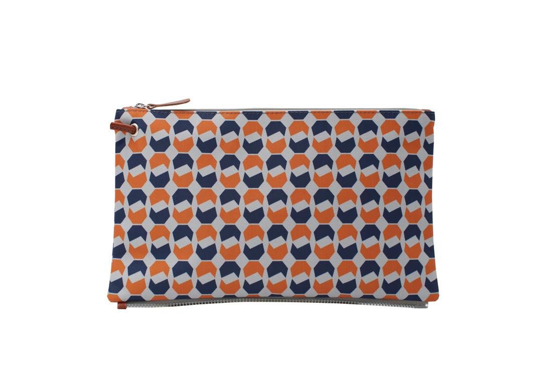 walnut dark blue orange top clutch
