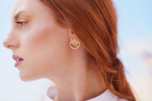 lotus earrings (gold) 2