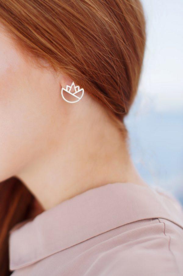 lotus earrings (silver) 3
