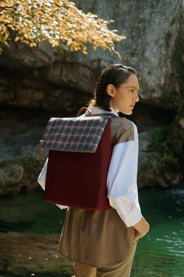 Mitos (dark red green) backpack